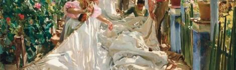 Joaquín Sorolla, Cosiendo la vela, 1896. Óleo sobre lienzo, 222 x 300 cm. Fondazione Musei Civici di Venezia, Galleria Internazionale d'Arte Moderna di Ca' Pesaro [inv. 261]. Cortesía: Museo Sorolla, Madrid, 2016.