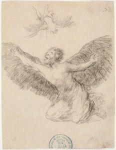 Dédalo viendo caer a su hijo Ícaro, Francisco de Goya, 1825-28. Metapintura. Museo Nacional del Prado, Madrid, 2016.