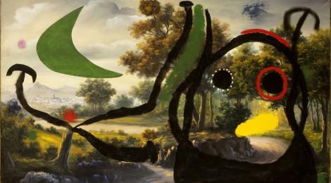 """Joan Miró, Personaje en un paisaje cerca del pueblo, 1965.Óleo sobre cuadro estilo """"pompier"""",81 x 140 cm.Colección Particular en depósito temporal© Successió Miró 2016. Cortesía: Fundación Mapfre, Madrid, 2017."""