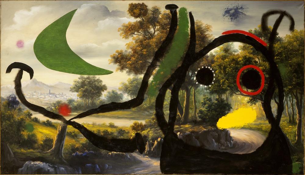 Joan Miró, Personaje en un paisaje cerca del pueblo, 1965. Cortesía: Fundación Mapfre, Madrid, 2017.