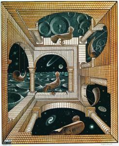 Escher, Madrid. Otro mundo II , 1947.Xilografía. Cortesía: Arthemisia, Madrid, 2017.
