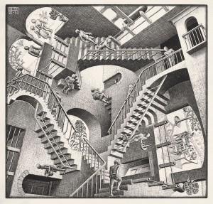 Escher, Madrid. Relatividad, 1953. Litografía. Cortesía: Arthemisia, Madrid, 2017.