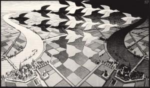 Escher, Madrid. Día y noche, 1938. Xilografía. Cortesía: Arthemisia, Madrid, 2017.