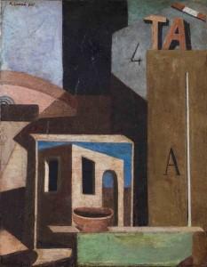 Composición TA (Bodegón metafísico). Carlo Carrà (1916-1918). Fundación Mapfre. Madrid, 2017.