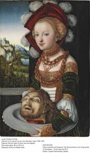Salomé con la cabeza de San Juan Bautista, Lucas Cranach el Viejo, hacia 1526-1530. Museo de Bellas Artes de Budapest.