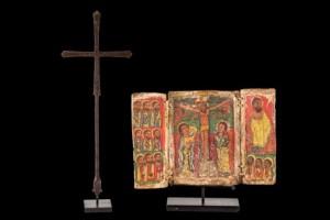 Lote 723, Subasta 542, Tríptico maestro de la Crucifixión, Etiopía, siglo XVI. Abril 2017. Durán Arte y Subastas.